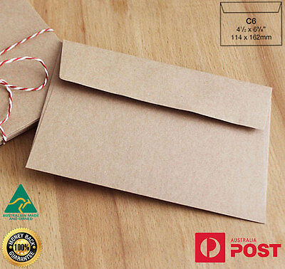 100 x C6 Recycled Brown Kraft Envelopes for Wedding Cards FREE Postage- A Grade