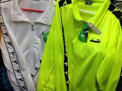 Diadora Tracksuit Top Polyester Whiteor Lime Brightat £25 All Sizes Small To X/l