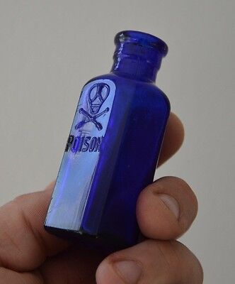 Very Rare POISON *-* antique small bottle * blue - cobaltic color *