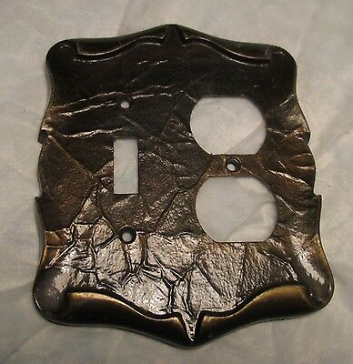 Vintage-Scroll Brass Tone Metal Electric Wall Double Switch Outlet Plate Cover