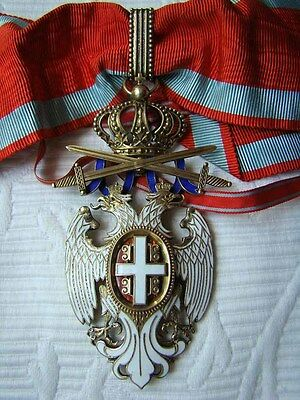 Serbian Order of the White Eagle 3rd Class, Neck Cross with original Ribbon