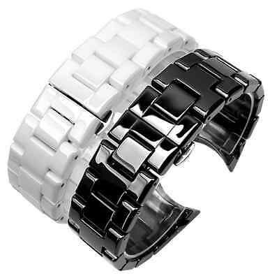 New High Quality Shiny 18 22 mm Ceramic Watch Band Bracelet Curved End Strap