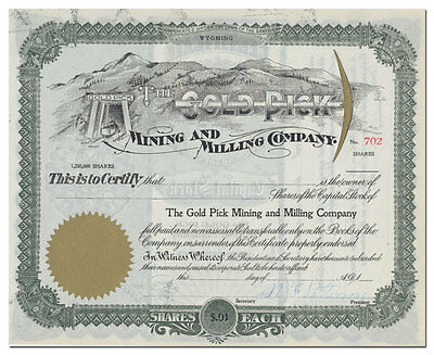The Gold Pick Mining and Milling Company Stock Certificate