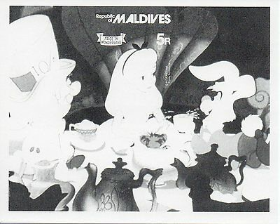 g507 Sheet Stamp 1980 Maldives Alice in Wonderland Color Proof imperf Disney MNH