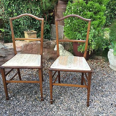 Edwardian Inlaid Pair Of Bedroom Chairs Ideal Project