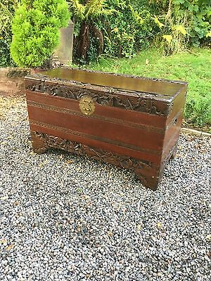 Antique Carved Camphor Wood Chest / Truck With Lock And Key