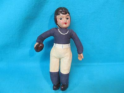 """Vintage 8"""" Celluloid Football Player Straw Stuffed Penn State ??? Made In Japan"""