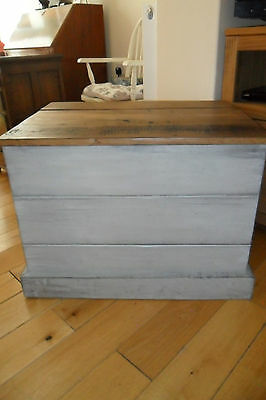 Antique Painted Oak Chest/Blanket Box a/f