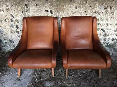 Very Rare Pair Of Beautiful Marco Zanuso  Leather Egg Arm Chairs - Vintage