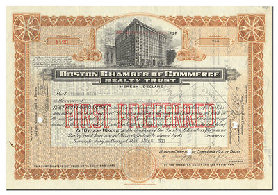 Boston Chamber of Commerce Realty Trust Stock Certificate