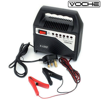 Voche® 6V & 12V Compact 8 Amp Car Motorbike Van Lawnmower Battery Fast Charger