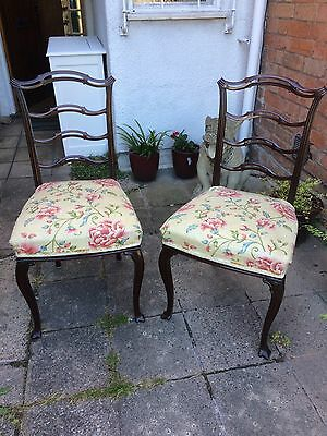 Edwardian Mahogany French Polished Hall Chairs - a pair