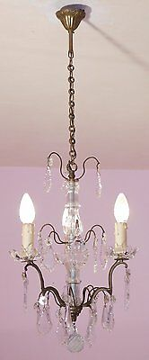Delightful Vintage French Crystal and Brass 3 Light Chandelier with Glass Column