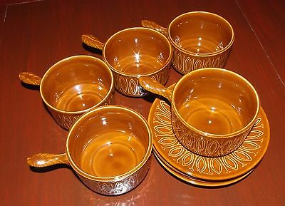 5 Retro Tams Brown Soup Bowls with handles and Saucers 1960s / 70s