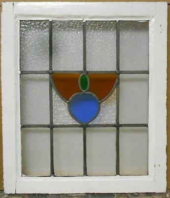"MID SIZED OLD ENGLISH LEADED STAINED GLASS WINDOW Nice Abstract 19.25"" x 22.25"""