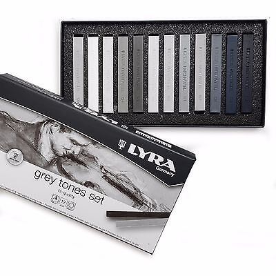 Lyra Grey Tones Set of 12 Fine Art Hard Pastels - Made in Germany