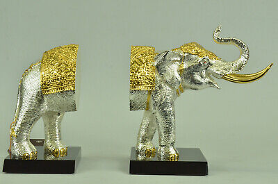 24K Gold And Silver Plated Elephant Bookend Statue Bronze Sculpture Figure