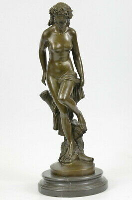 classical Vintage stylebronze sculpture nude women lady Art statuary marble Base