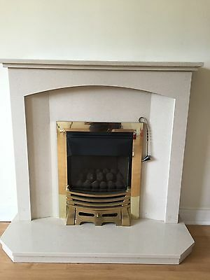 fireplace surround, back panel and hearth marble