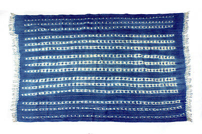 Vintage silver thread stitch dyed Mossi indigo cloth from Burkina Faso M162