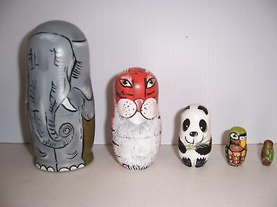 Hand painted Wild Animal collection stacking nesting doll set