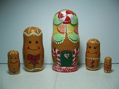 Hand painted Gingerbread Family collection stacking nesting doll set