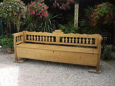 WOW! RARE! 8ft! LARGE OLD ANTIQUE PINE HUNGARIAN/BOX BENCH/SETTLE/PEW/STORAGE
