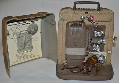 Keystone K100 8mm Variable Speed  Home Movie Film Projector With Reel Working