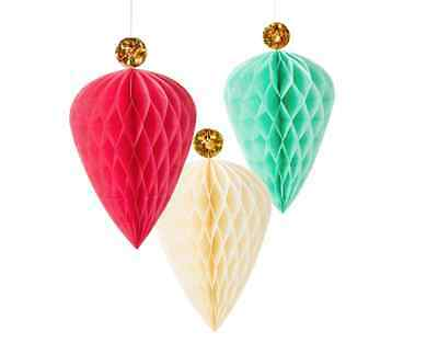 NEW Christmas Decorations 3 x Large Honeycomb Paper Baubles