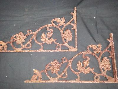 Architectural Salvage Cast Iron Grapes and Vines Corner Brackets Set of 2