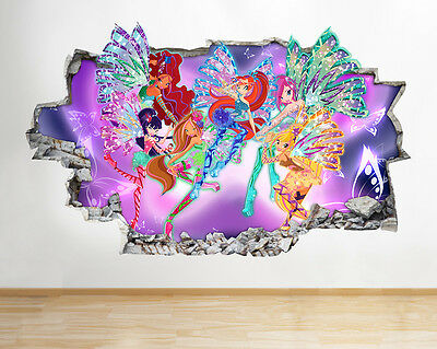 H182 WinX Club Characters Smashed Wall Decal Poster 3D Art Stickers Vinyl Room