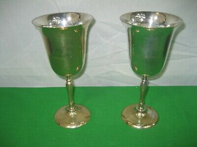 """Vintage Set of Two (2) Stemmed Brass Silver Plated Wine Goblets 7.5"""" Tall India"""