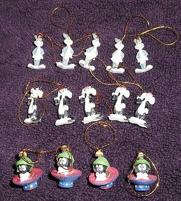 "Looney Tunes Mini Ornaments 3/4"" Set Of 14 Bugs Bunny Sylvester Marvin"