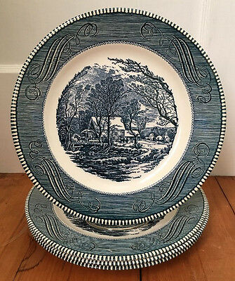 """Lot Of 4 Currier And Ives Royal China Blue Dinner Plates 10"""" The Old Grist Mill"""