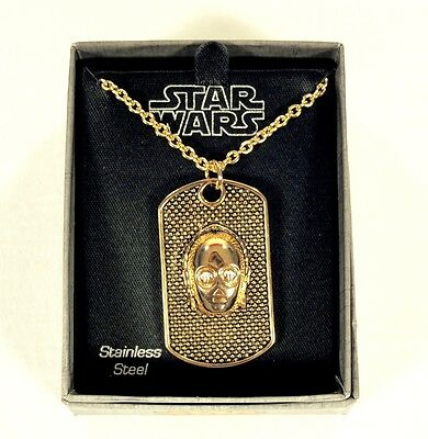Star Wars C-3PO Gold Plated 3D Dog Tag Necklace Stainless Steel Jewelry