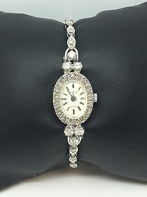 14K White Gold Ladies Geneve 1.20Ctw Diamond Vintage Watch With Safety Chain