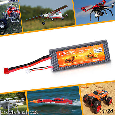 FLOUREON 7.4V 5200mAh 2S 30C Li-Po RC Battery Deans for Helicopter Airplane Car