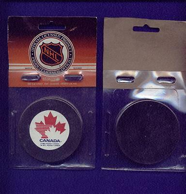 Team Canada Official Licensed Hockey Puck In Cello Pack Issued In 1983 Mint Rare