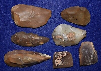 7 Paleolithic Aterian Tools blade/scrapper forms