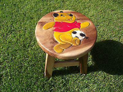 Chunky Hand Carved Solid Wooden Child's Stool.