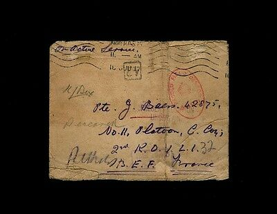 """FIELD POST OFFICE 64"" receiving mark 1917 ""Present Location Uncertain"" cover"