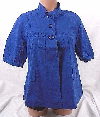 2d56eb6f0ed53 Tullette Button Up Bubble Print Baby Doll Womens Top TLJ7027 Navy Large 509A