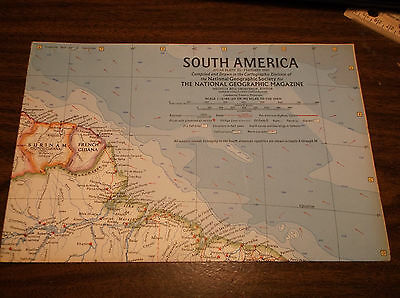 Vintage Large South America Wall Map National Geographic February 1960