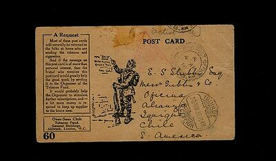 """""""FIELD POST OFFICE 28"""" illustrated Tobacco Fund to Chile w/ """"IQUIQUE RECEPTION"""""""