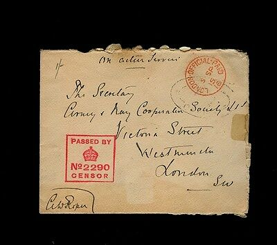 """LONDON OFFICIAL PAID 5 SP 16"" in Red over a Black Oval w/Censor & Signature"