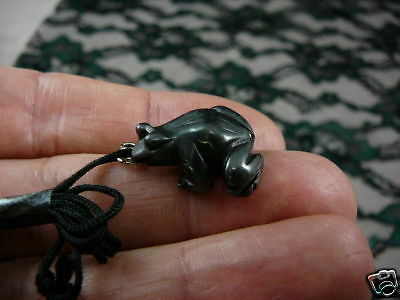 (an-frog-3) FROG BLACK iron carving Pendant NECKLACE FIGURINE gem