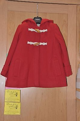 Girls Next Red Wool Winter Coat Size 4-5 Years Bnwt