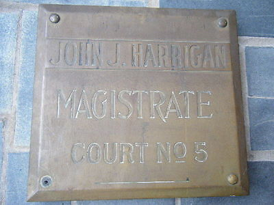 Philadelphia PA ca.1916 John Harrigan Magistrate Court brass building sign WOW !