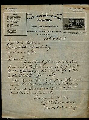 1917 Peoples Funeral Corpoation of Vermont Ave. Washington Funeral Claim Letter