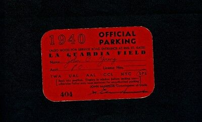 1940 La Guardia Field Parking Pass -Red Cardstock- Hotel New Yorker Advertising